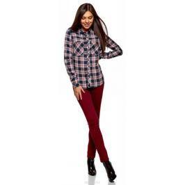Рубашка женская oodji Ultra, цвет: темно-синий, кремовый. 13L01001/47352/7930C. Размер 44 (50-170) Женская одежда
