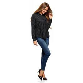Блузка женская oodji Ultra, цвет: черный, белый. 11411127B/26346/2912G. Размер 34-170 (40-170) Женская одежда
