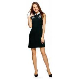Платье oodji Ultra, цвет: черный, кремовый. 12C13002/43299/2930P. Размер 36-170 (42-170) Женская одежда
