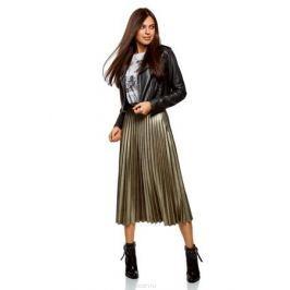 Юбка oodji Collection, цвет: черный, золотистый металлик. 21606020-6/47588/2993X. Размер 36-170 (42-170) Женская одежда