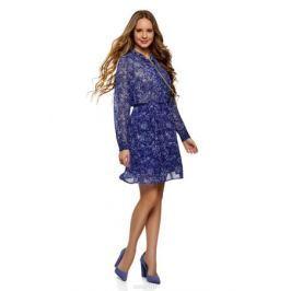 Платье oodji Collection, цвет: синий, голубой. 21912003/38375/7570F. Размер 40-170 (46-170) Женская одежда