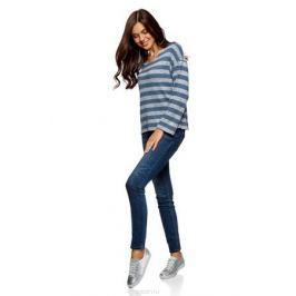 Джемпер женский oodji Ultra, цвет: темно-бирюзовый, белый. 14808020/47585/7612S. Размер M (46) Женская одежда
