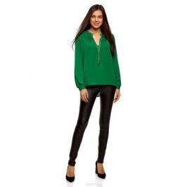 Блузка женская oodji Collection, цвет: изумрудный. 21414004/45906/6D00N. Размер 42-170 (48-170)