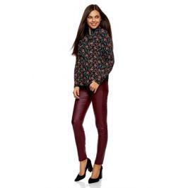 Блузка женская oodji Collection, цвет: черный, красный. 21411090/36215/2945F. Размер 44-170 (50-170) Женская одежда