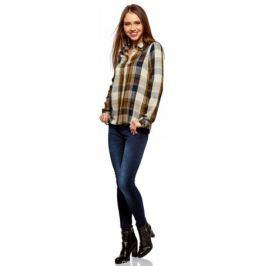 Рубашка женская oodji Ultra, цвет: хаки, темно-синий. 11411098/45208/6679C. Размер 44-170 (50-170) Женская одежда