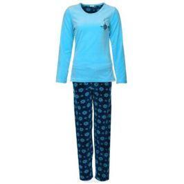 Костюм домашний женский Vienetta's Secret Цветы: лонгслив, брюки, цвет: голубой, темно-синий. 605008 0073. Размер M (46) Женская одежда