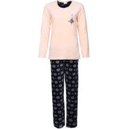 Костюм домашний женский Vienetta's Secret Цветы: лонгслив, брюки, цвет: светло-персиковый, темно-синий. 605008 0073. Размер XL (50) Женская одежда