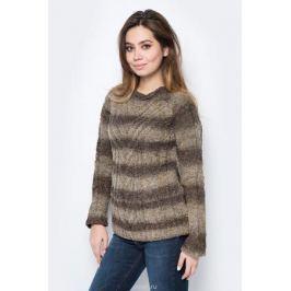 Джемпер женский F5, цвет: коричневый, бежевый. 276107_brown stripes. Размер XL (50)