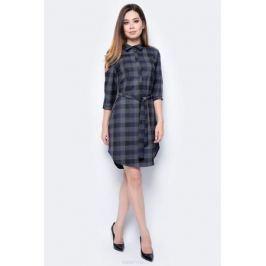 Платье женское F5, цвет: серый, синий. 271014_Grey check 2. Размер S (44) Женская одежда