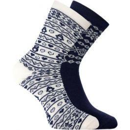 Носки женские oodji, цвет: темно-синий, белый, 2 пары. 57102450T2/46059/7912J. Размер 35/37 Женская одежда