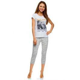 Пижама женская oodji Ultra, цвет: белый, серый. 56002209-2/47963/1023P. Размер L (48) Женская одежда