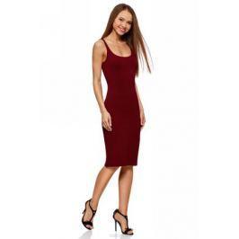 Платье oodji Ultra, цвет: бордовый. 14015007-2B/47420/4901N. Размер L (48)