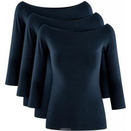 Лонгслив женский oodji Ultra, цвет: темно-синий, 3 шт. 14207007T3/46867/7900N. Размер XL (50)