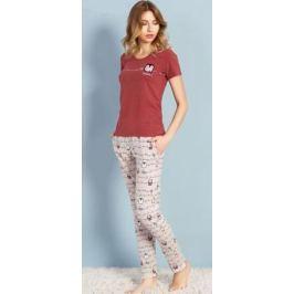 Домашний комплект женский Vienetta's Secret Nevada 21, цвет: бордовый, светло-бежевый. 706101 5039. Размер XL (50)