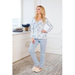 Комплект домашний женский Mia Cara Winter Garden: лонгслив, брюки, цвет: голубой. AW17-MCUZ-172. Размер 42/44