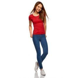 Футболка женская oodji Ultra, цвет: красный. 14701005-15B/45297/4500N. Размер M (46)