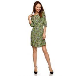 Платье oodji, цвет: зеленое яблоко, ягодный, цветы. 11901153-1B/42540/6A4CF. Размер 36-170 (42-170)