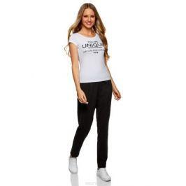 Брюки спортивные женские oodji Ultra, цвет: черный. 16701046-2B/46173/2923B. Размер XS (42)