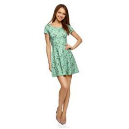 Платье oodji Ultra, цвет: ментол, фиолетовый. 14011034B/42588/6583F. Размер S (44)