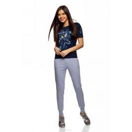 Брюки спортивные женские oodji Ultra, цвет: голубой меланж. 16701055B/47999/7000M. Размер S (44)