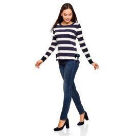 Джемпер женский oodji Ultra, цвет: темно-синий, белый. 63812613/47853/7910S. Размер XL (50)