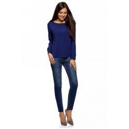 Блузка женская oodji Ultra, цвет: темно-синий. 11411135B/14897/7903N. Размер 38-170 (44-170)
