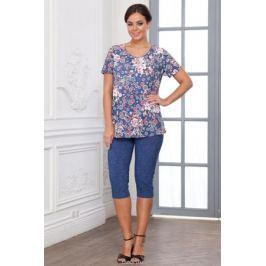 Комплект домашний женский Cleo Цветы. Роза: бриджи, футболка, цвет: джинс. 744. Размер 56