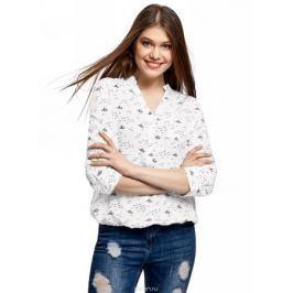 Блузка женская oodji Ultra, цвет: белый, темно-синий. 11403189-3B/26346/1279O. Размер 34 (40-170)