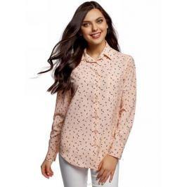Блузка женская oodji Ultra, цвет: светло-розовый, черный, графика. 11411134B/46123/4029G. Размер 38 (44-170)