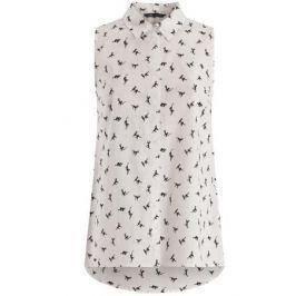 Блузка женская oodji Collection, цвет: белый, черный. 21412127-1M/12836/1229A. Размер 44-170 (50-170)