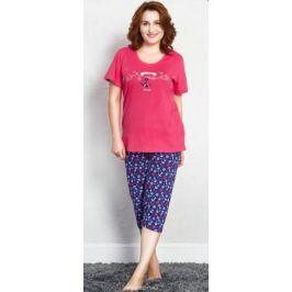 Комплект домашний женский Vienetta's Secret Якорь, цвет: малиновый. 709121 2588. Размер 4XL (56)