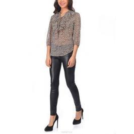 Блузка женская oodji Collection, цвет: бежевый, черный. 21400397/15036/3329A. Размер 36-170 (42-170)