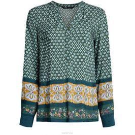 Блузка женская oodji Collection, цвет: темно-зеленый, горчичный. 21400394-3/24681/6957E. Размер 40-170 (46-170)