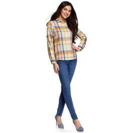 Блузка женская oodji Ultra, цвет: светло-желтый, ягодный. 11411098-4/45208/504CC. Размер 44-170 (50-170)