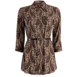 Блузка женская oodji Collection, цвет: белый, коричневый, темно-синий. 21412057-1/17466/1233E. Размер 44 (50-170)
