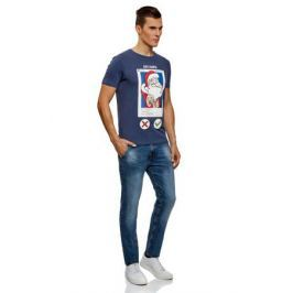 Футболка мужская oodji Lab, цвет: синий, красный. 5L611406M/47601N/7545P. Размер XS (44)