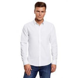 Рубашка мужская oodji Lab, цвет: белый. 3L110208M/44355N/1000N. Размер 38-182 (44-182)