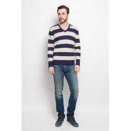 Джемпер мужской D&H Basic, цвет: бежевый, синий. А6000308. Размер М (50)