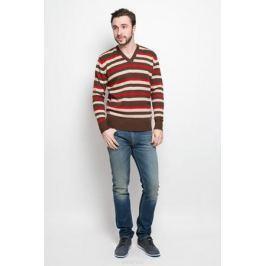 Джемпер мужской D&H Basic, цвет: коричневый, бежевый, красный. А600020306. Размер XL (54)