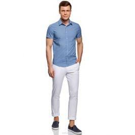 Рубашка мужская oodji Lab, цвет: голубой, белый. 3L210041M/19370N/7010G. Размер 41-182 (50-182)