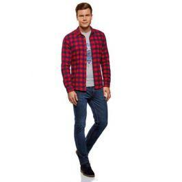 Рубашка мужская oodji Lab, цвет: красный, темно-синий. 3L310150M/39882N/4579C. Размер XXL-182 (58/60-182)