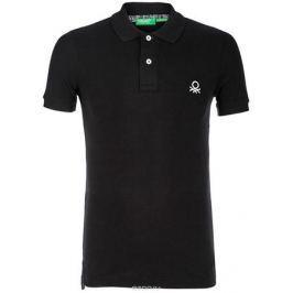 Поло мужское United Colors of Benetton, цвет: черный. 3089J3075_100. Размер L (50/52)