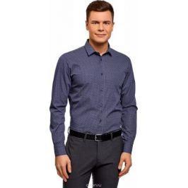 Рубашка мужская oodji Basic, цвет: темно-синий, белый. 3B110026M/19370N/7910G. Размер 37 (42-182)