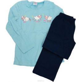Комплект домашний для девочки Vienetta's Secret Барашки: брюки, лонгслив, цвет: голубой. 403369 4434. Размер 164, 14 лет