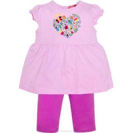 Комплект одежды для девочки Let's Go: футболка, бриджи, цвет: лиловый, фиолетовый. 4132. Размер 86