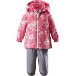 Комплект верхней одежды для девочки Reima Reimatec Nuotti: куртка, полукомбинезон, цвет: розовый, серый. 513114R3295. Размер 98