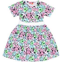 Платье для девочки Let's Go, цвет: бирюзовый, розовый. 8129. Размер 98