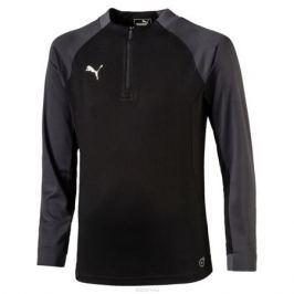 Футболка с длинным рукавом для мальчика Puma ftblNXT 1 4 zip Top Core Jr, цвет: черный, темно-серый. 655767017. Размер 164