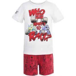Пижама для мальчика Button Blue, цвет: белый, красный. 118BBBL97013513. Размер 128