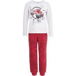 Пижама для мальчика Button Blue, цвет: белый, красный. 118BBBL97033513. Размер 140